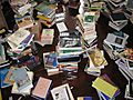 Unpacked books, top view